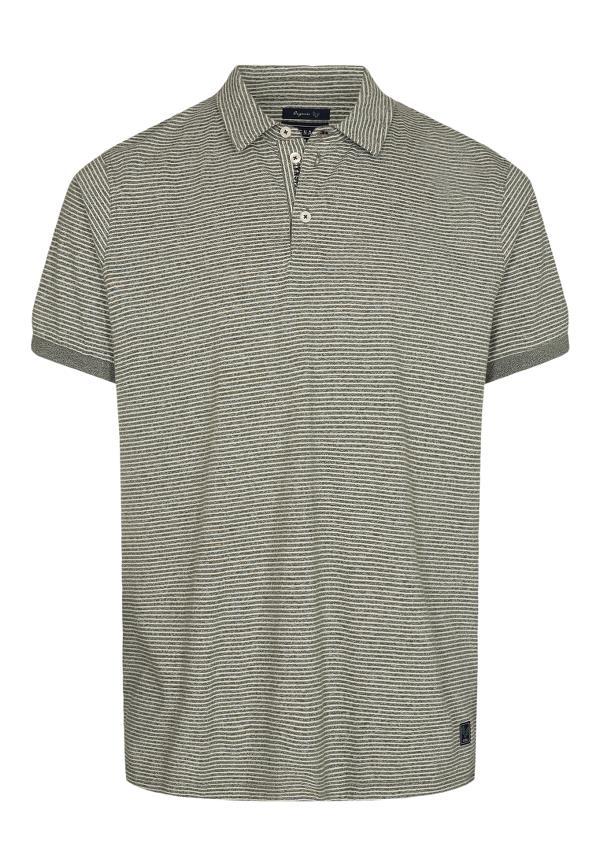 Signal Oscar Organic Stripe Polo t-shirt, greene clover, x-large
