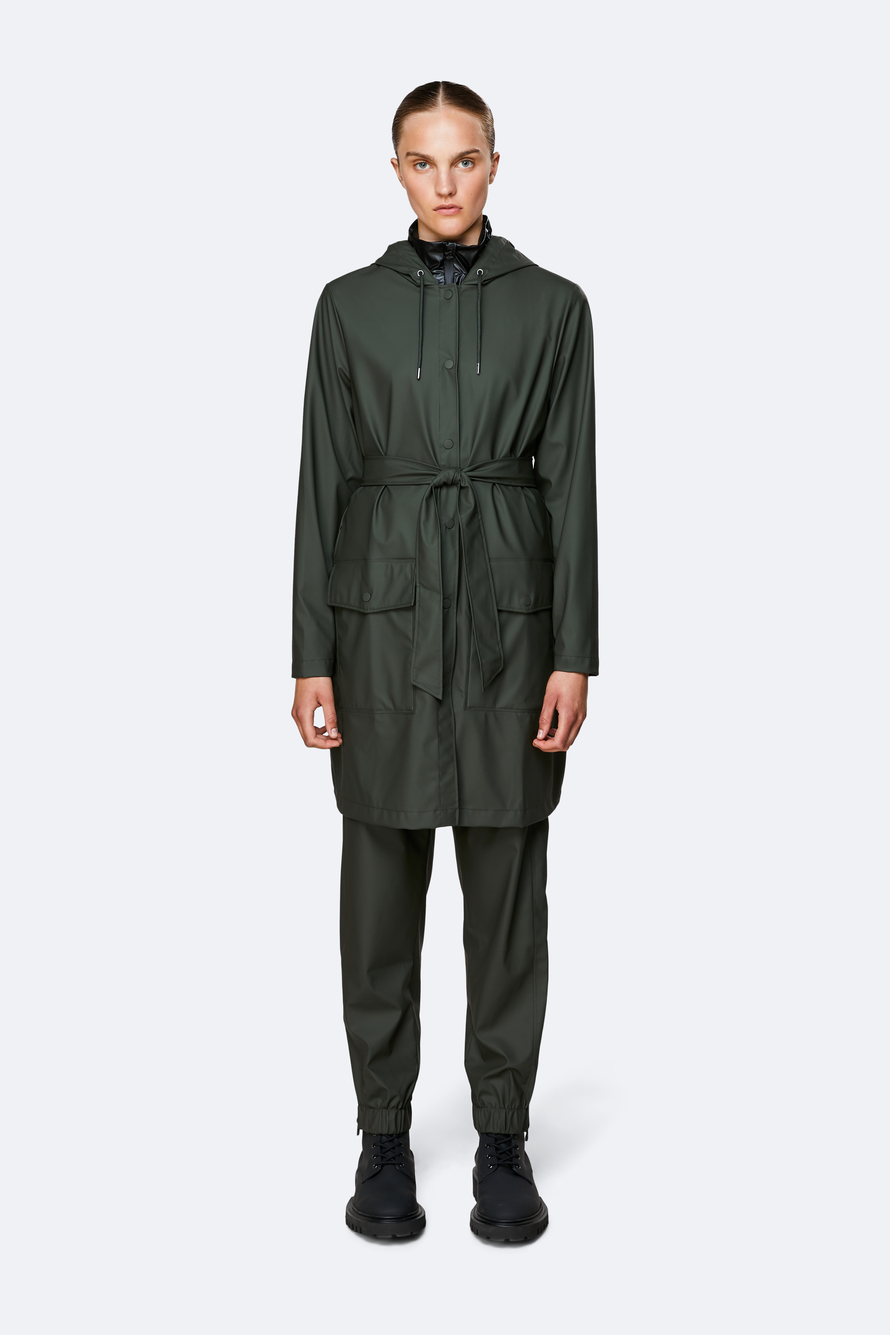 Rains Belt Jacket regnjakke, grøn, medium/large