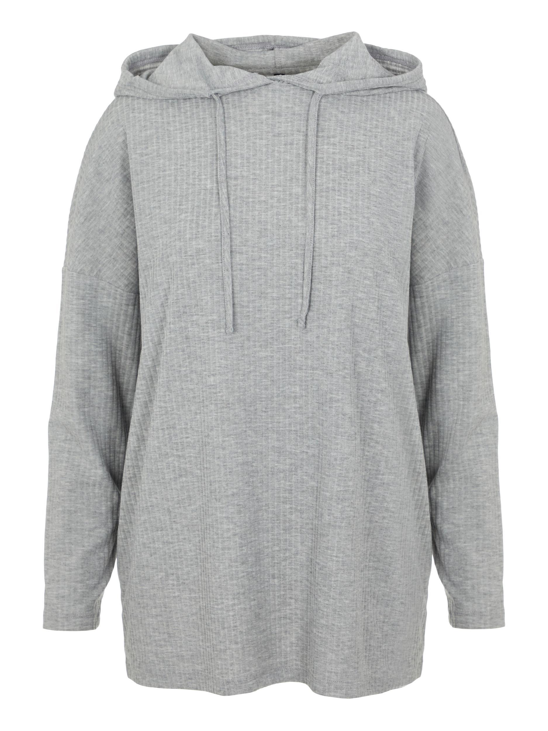 Pieces Ribbi hættetrøje, Light Grey Melange, M