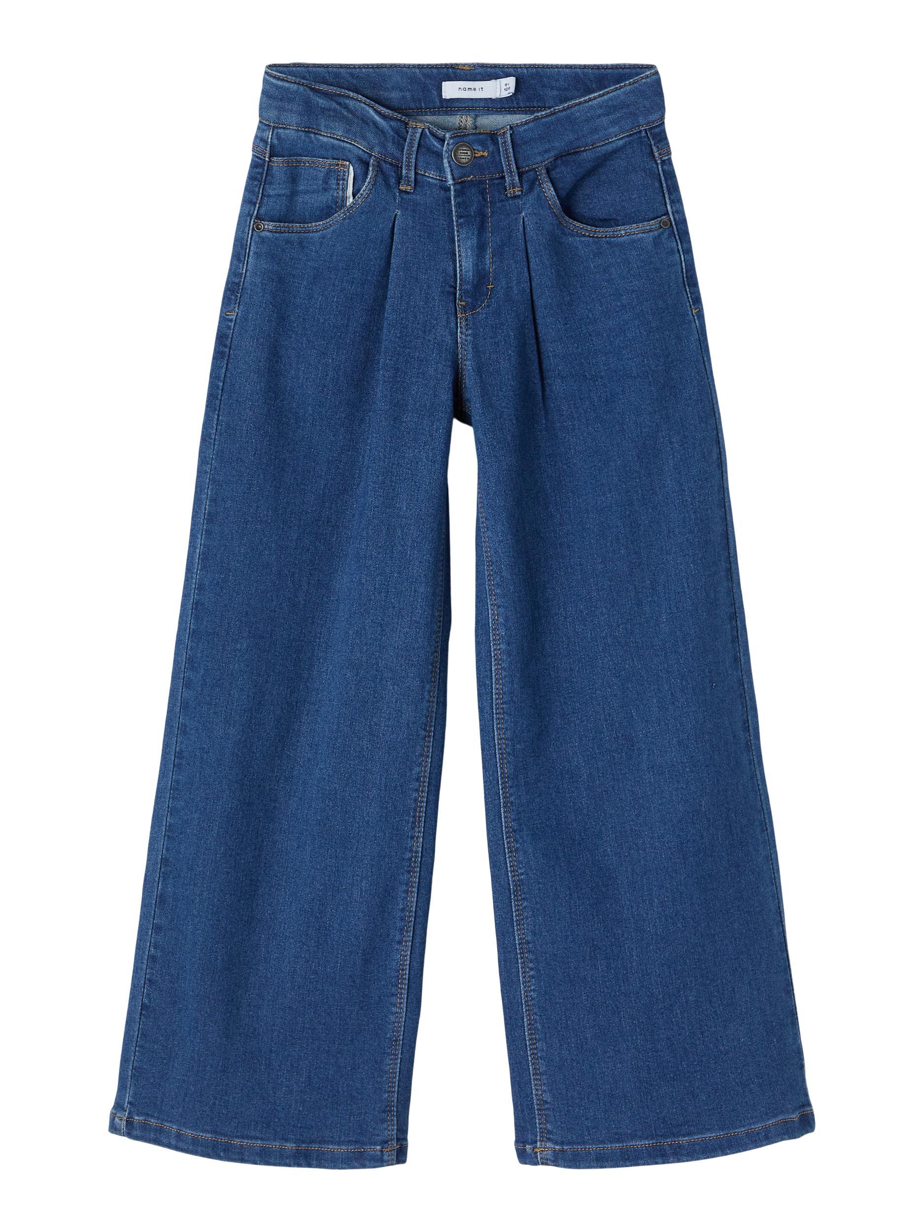 Name It Wide Taspers jeans, medium blue denim, 134