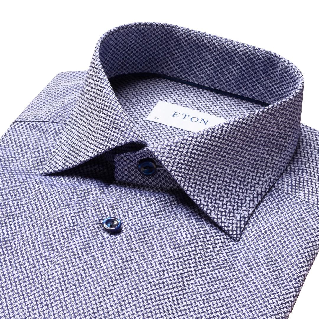 Eton Dobby Contemporary skjorte, navy, 41