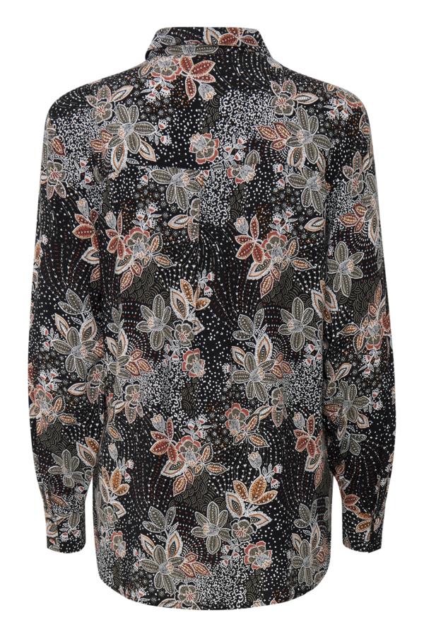 Fransa 20609627 skjorte, black flower mix, small