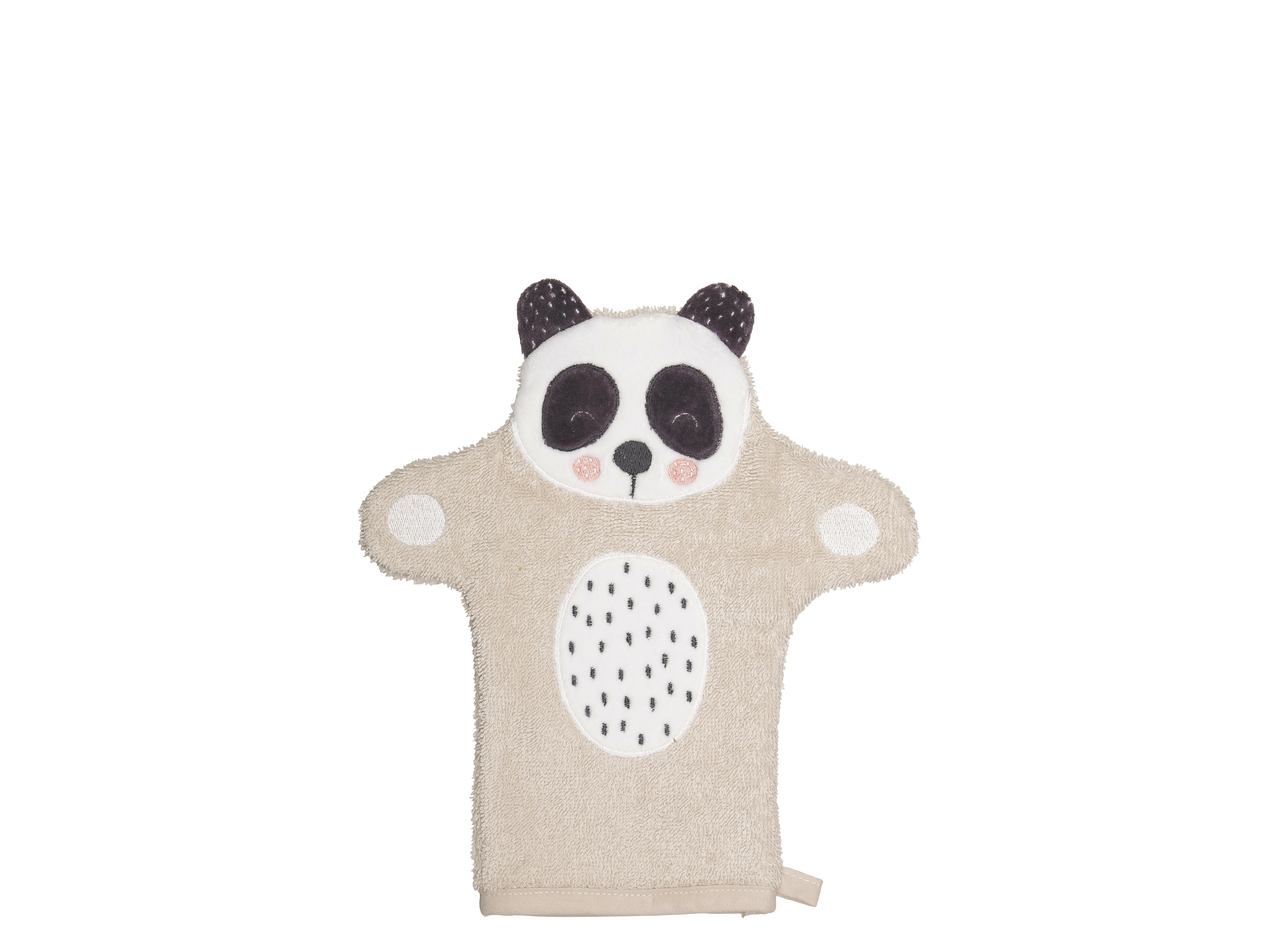 Södahl Penny Panda vaskehandske, 11x21 cm, natur