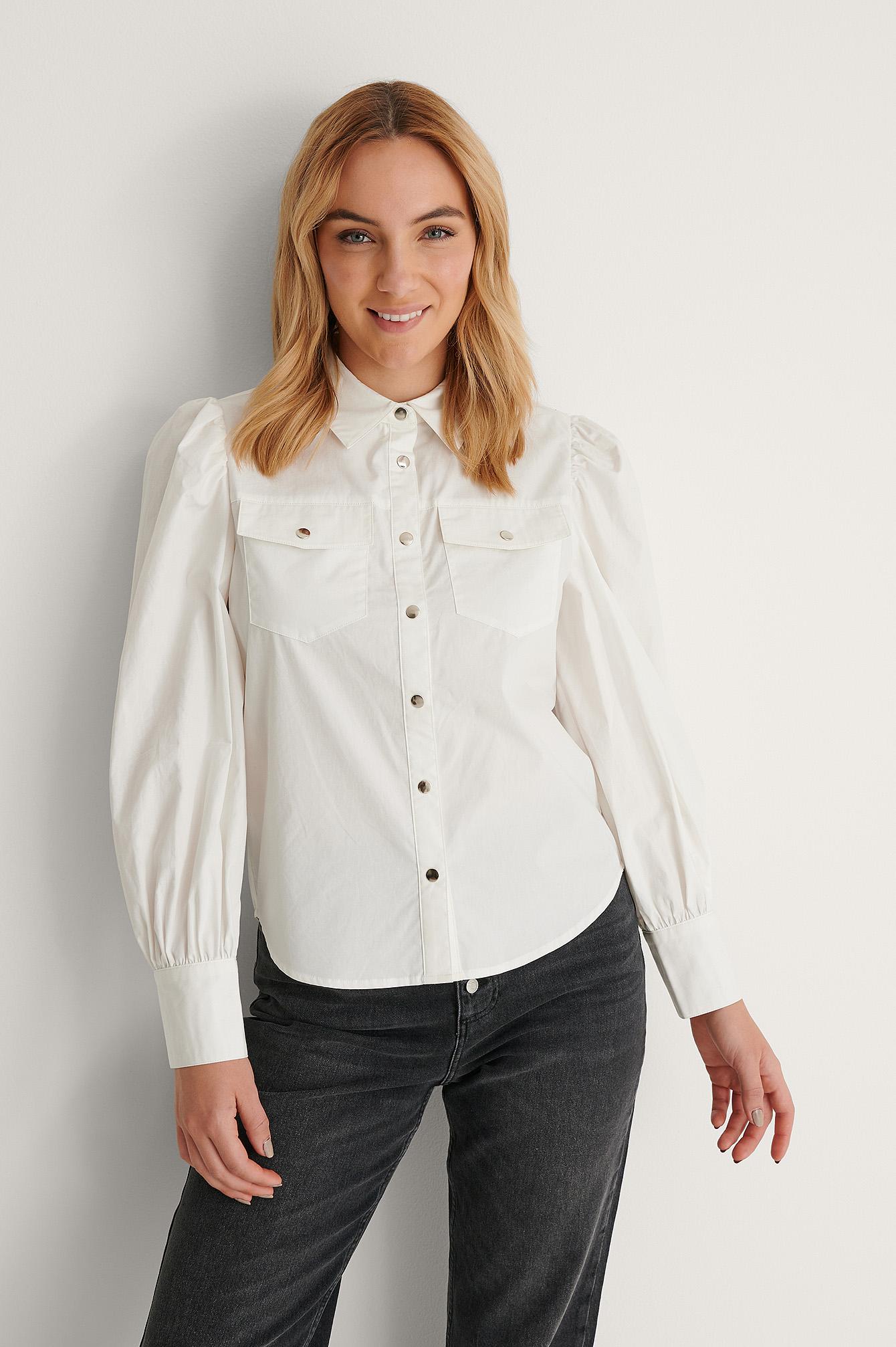 NA-KD skjorte, Hvid, 42