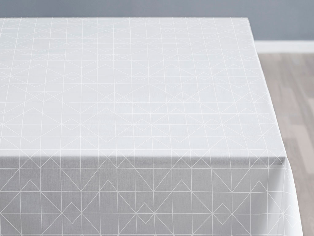 Södahl Refined organic damaskdug, Ø160 cm, white
