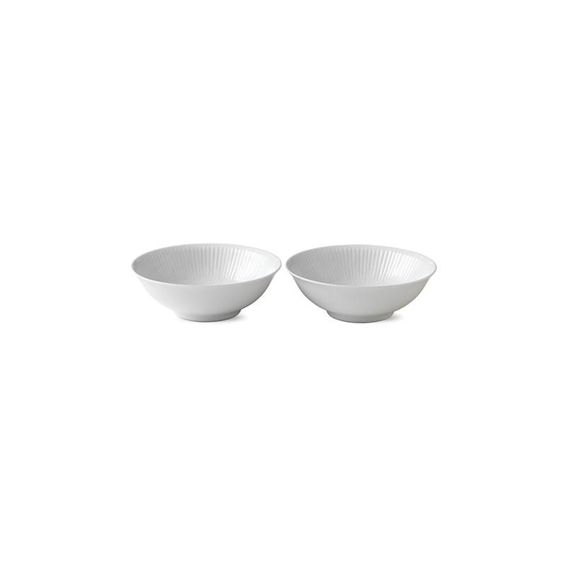 Royal Copenhagen Hvid Riflet portionsskål, 350 ml, 2 stk
