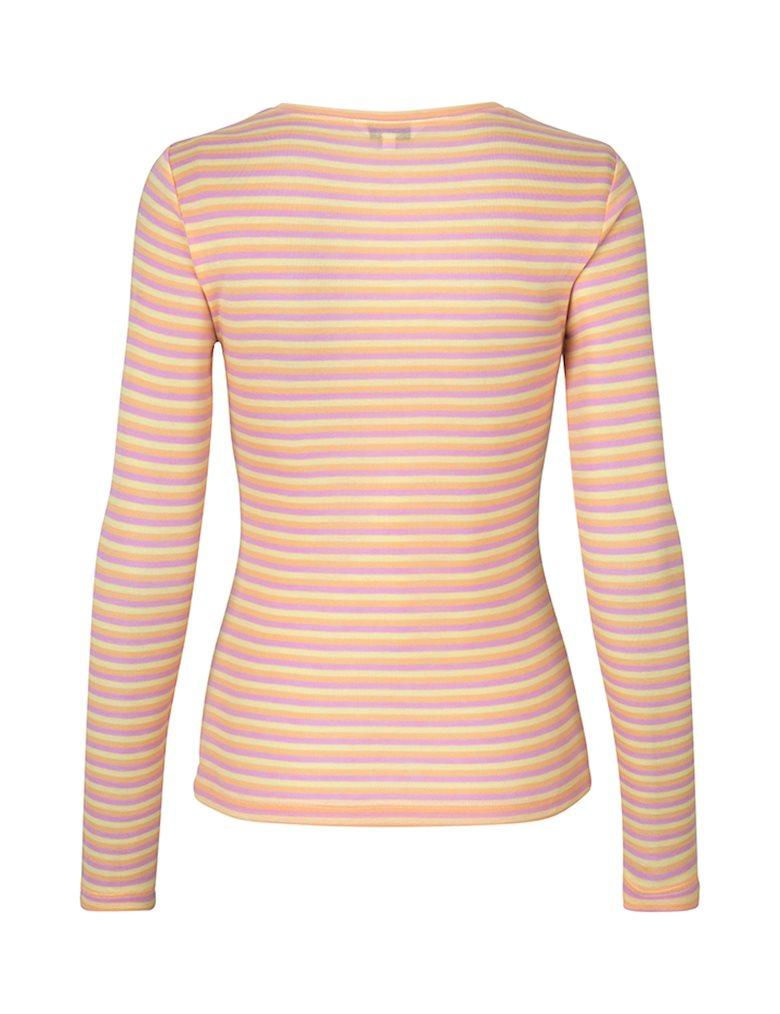 mbyM Lilita Gogreen Air Stripe bluse, butter pink peach stripe, x-small