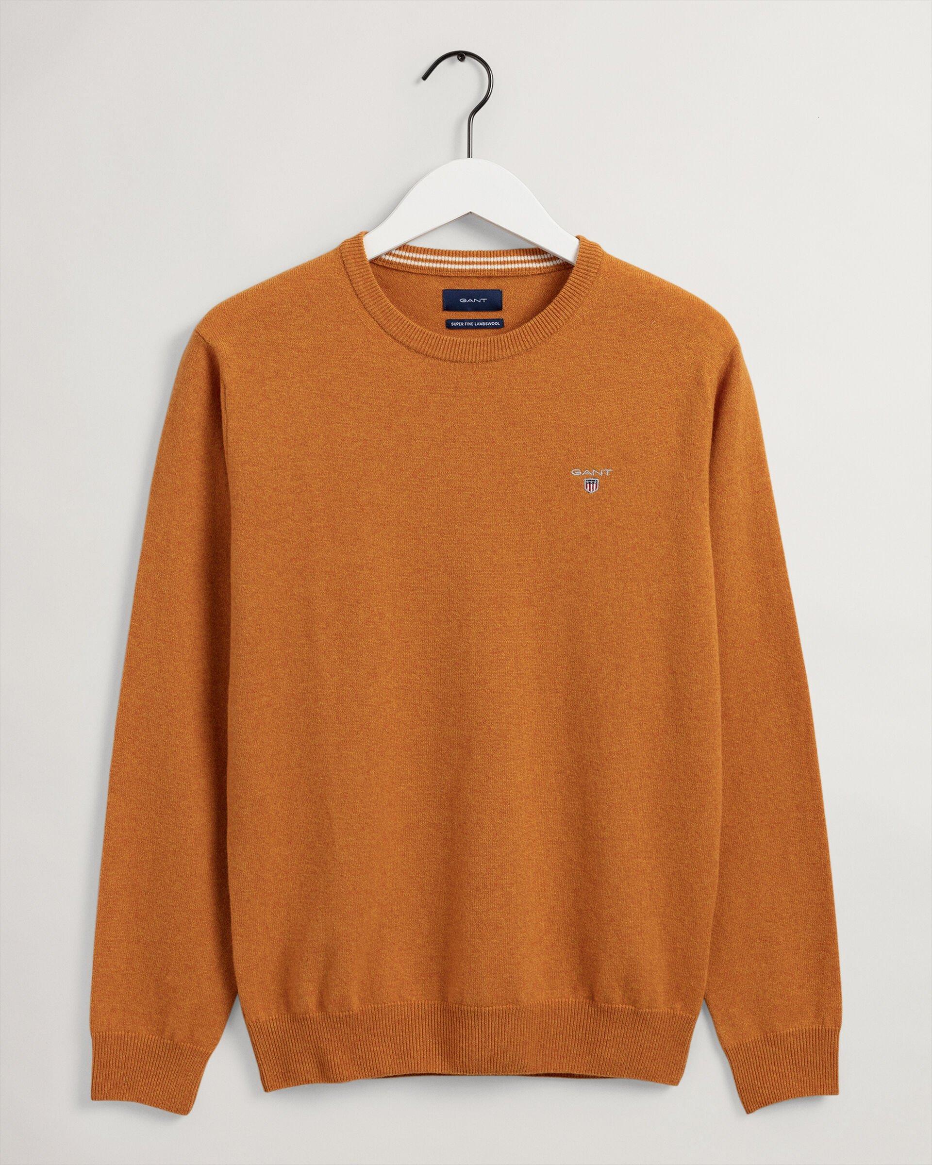 Gant Crewneck Striktrøje, Dark Mustard Orange, M