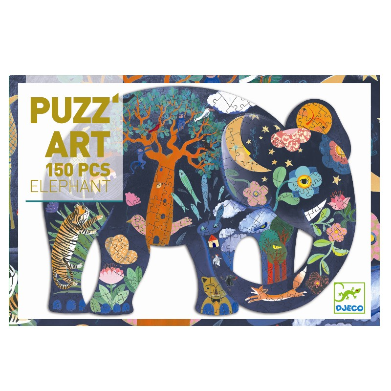 Djeco Puslespil puzzart, elefant, 150 brikker
