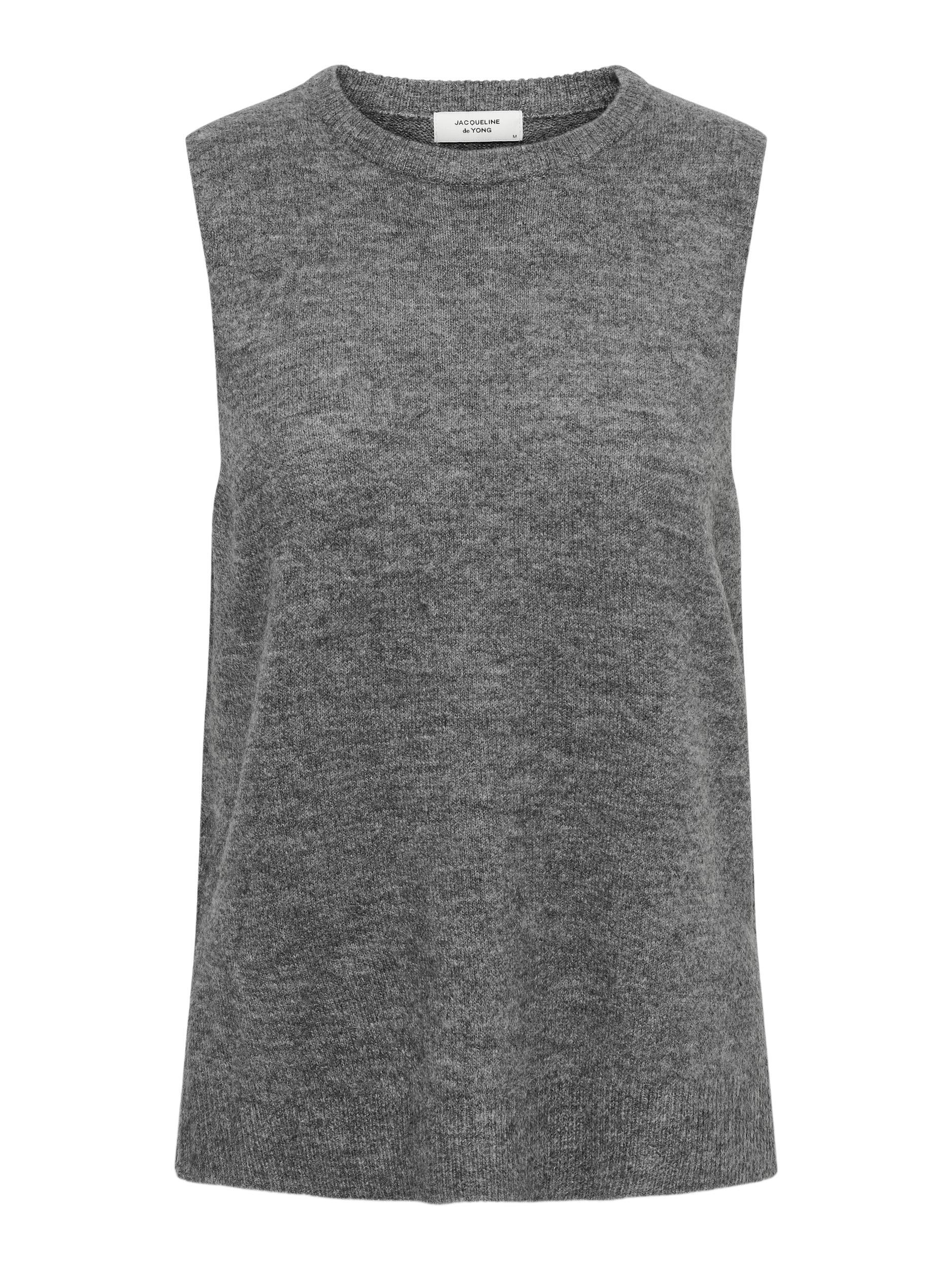 Jacqueline de Yong Elanor strikvest, dark grey melange, large