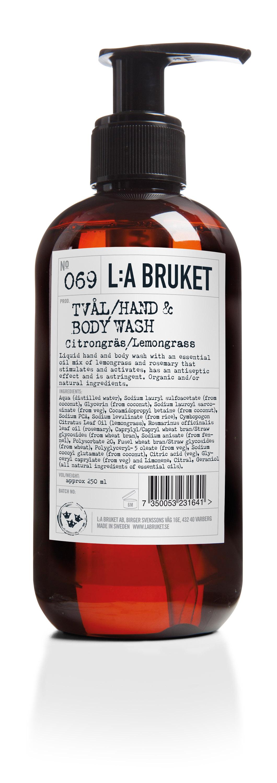 L:a Bruket No. 069 hånd- og bodysæbe, 240 ml, Citrongräs