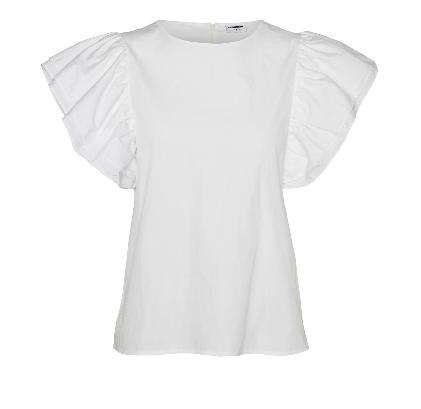 Noisy May Pinar Poplin Bluse, Bright White, XS
