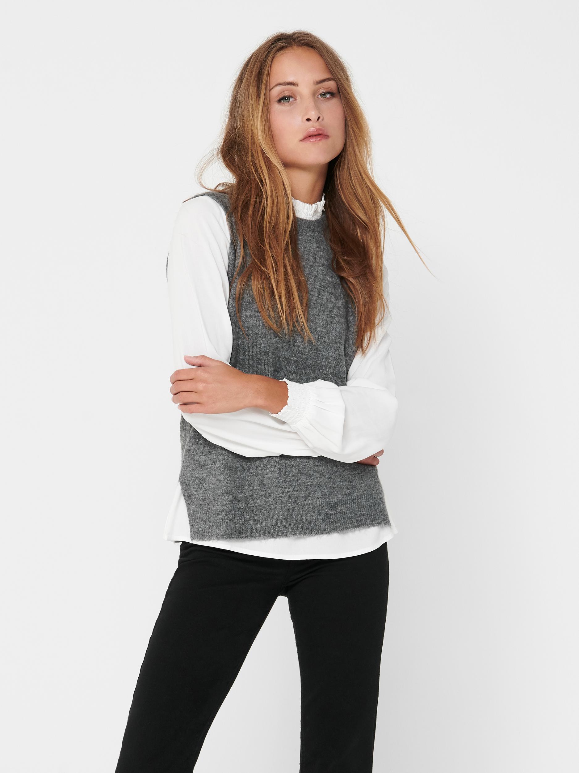 Jacqueline de Yong Elanor vest, dark grey melange, x-small