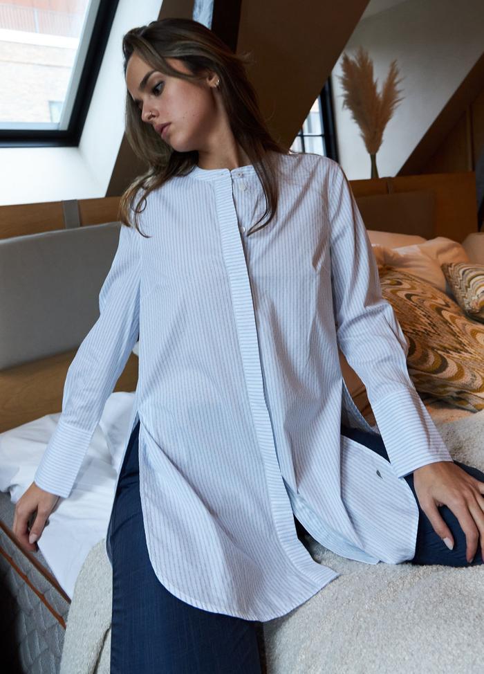 Coster Copenhagen skjorte, light blue stripes, 34