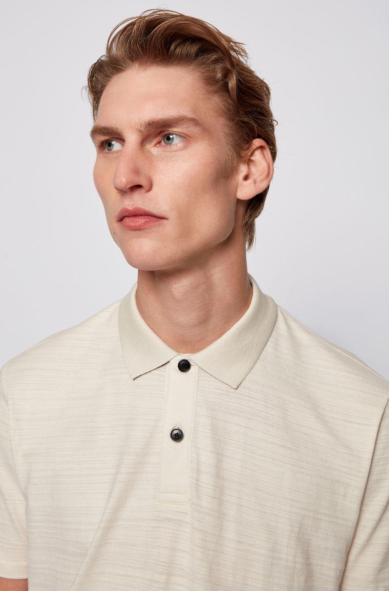 Hugo Boss Slub-cotton polo shirt, light beige, medium