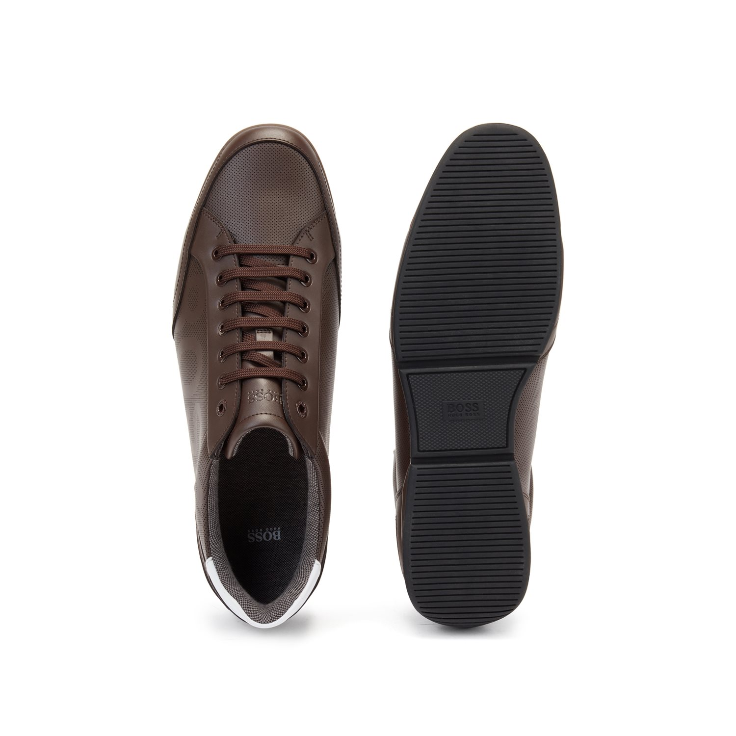 BOSS Low-profile Leather sneakers, dark bown, 42