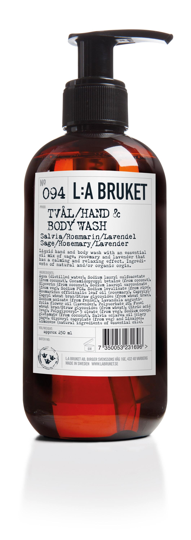 L:a Bruket No. 094 hånd- og bodysæbe, 240 ml, Salvia/Rosmarin/Lavendel