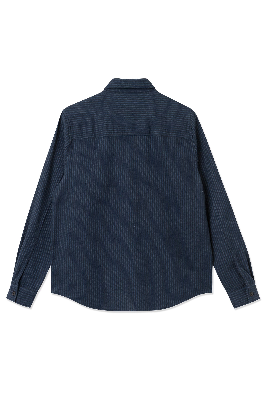 Wood Wood Avenir Stripe Flannel skjorte, navy, medium