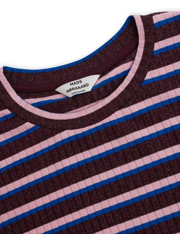 Mads Nørgaard 5x5 Lurex Stripe Duba Kjole, Metallic Winetasting, S
