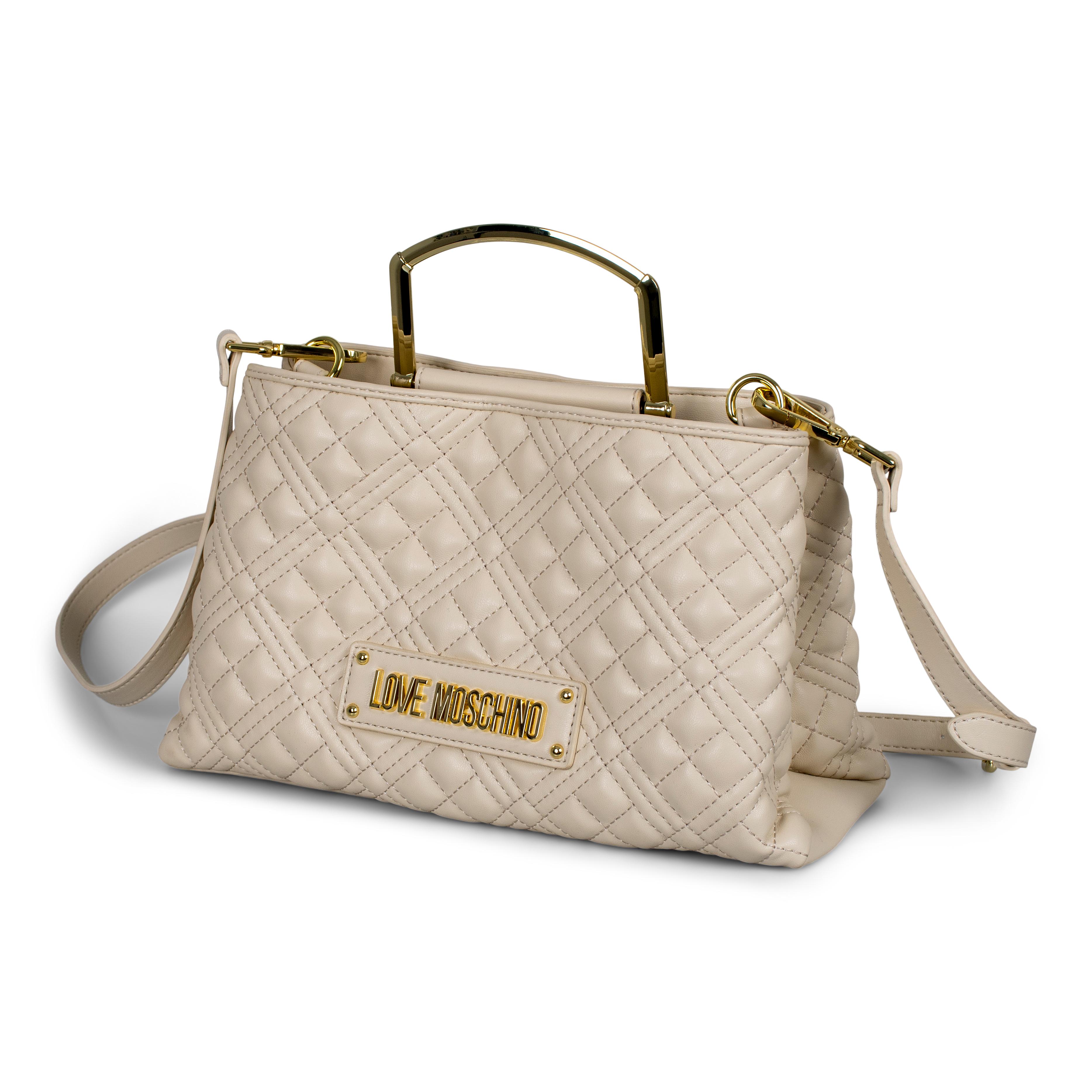 Love Moschino Quiltet Tote håndtaske, avorio
