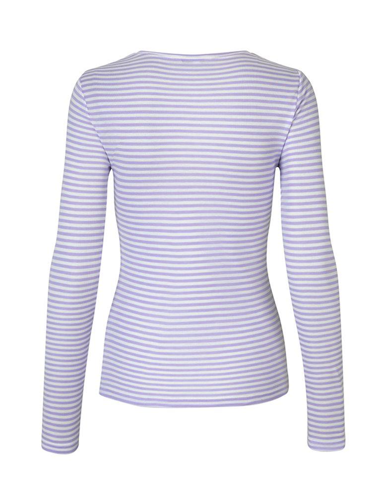 mbyM Lilita Gogreen Air Stripe bluse, lilac lavender sugar stripe, x-small