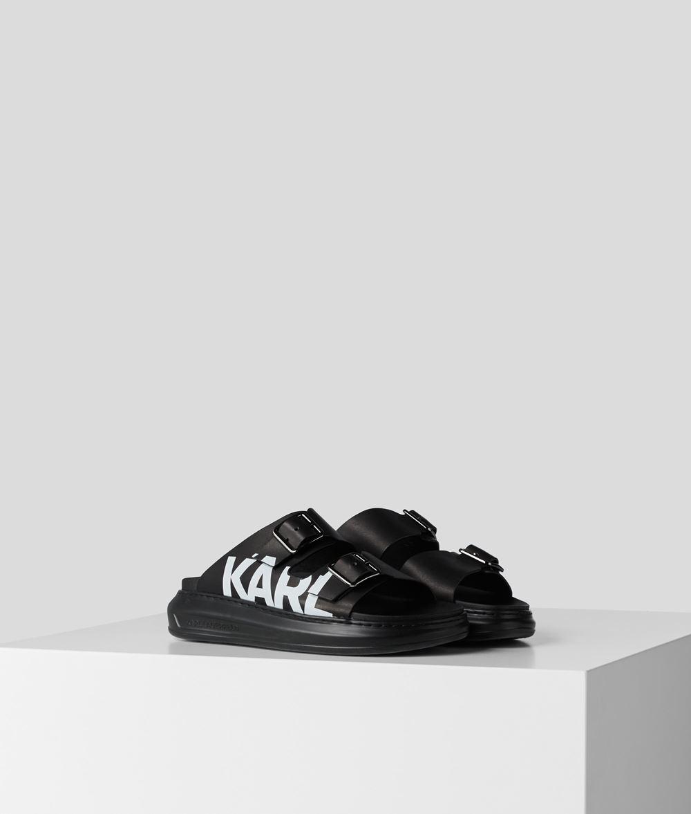 Karl Lagerfeld Kapri Double Buckle Logo sandal, black, 38