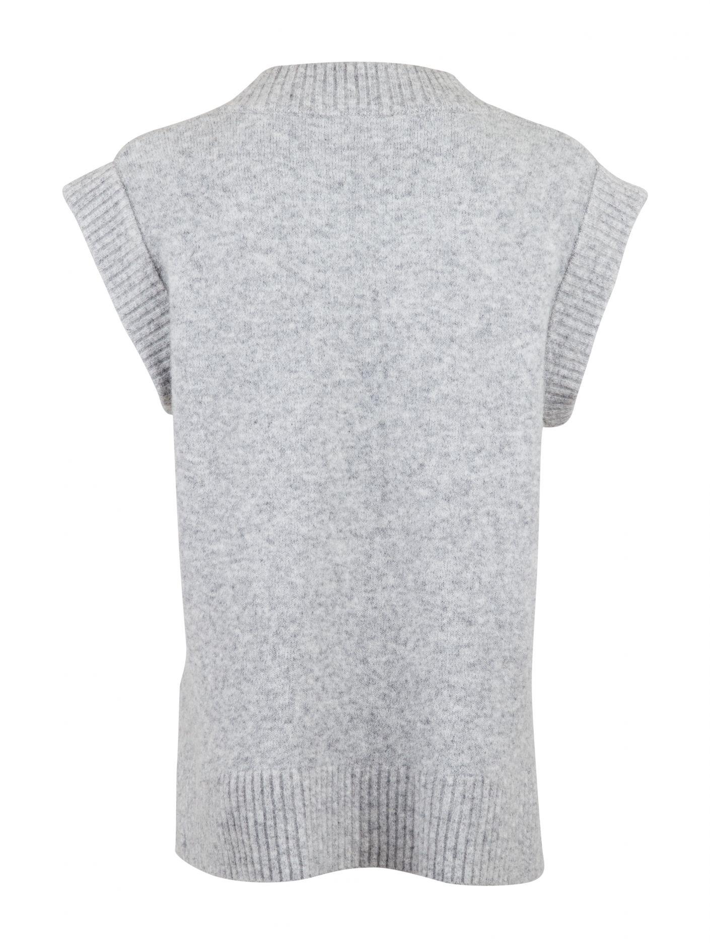 Neo Noir Kaylee strik vest, light grey melange, x-large