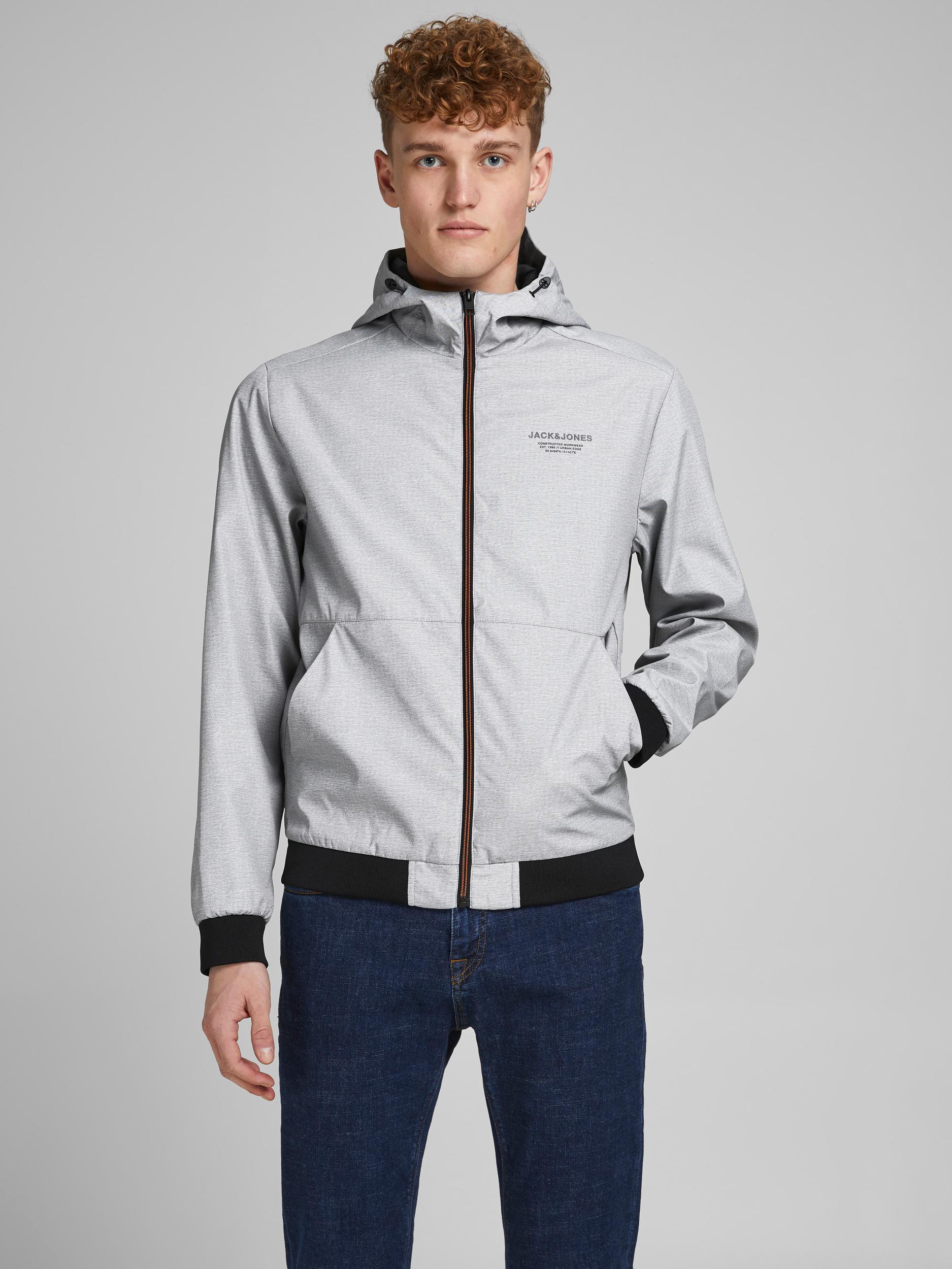 Jack & Jones Seam jakke m. hætte, grey melange, x-large
