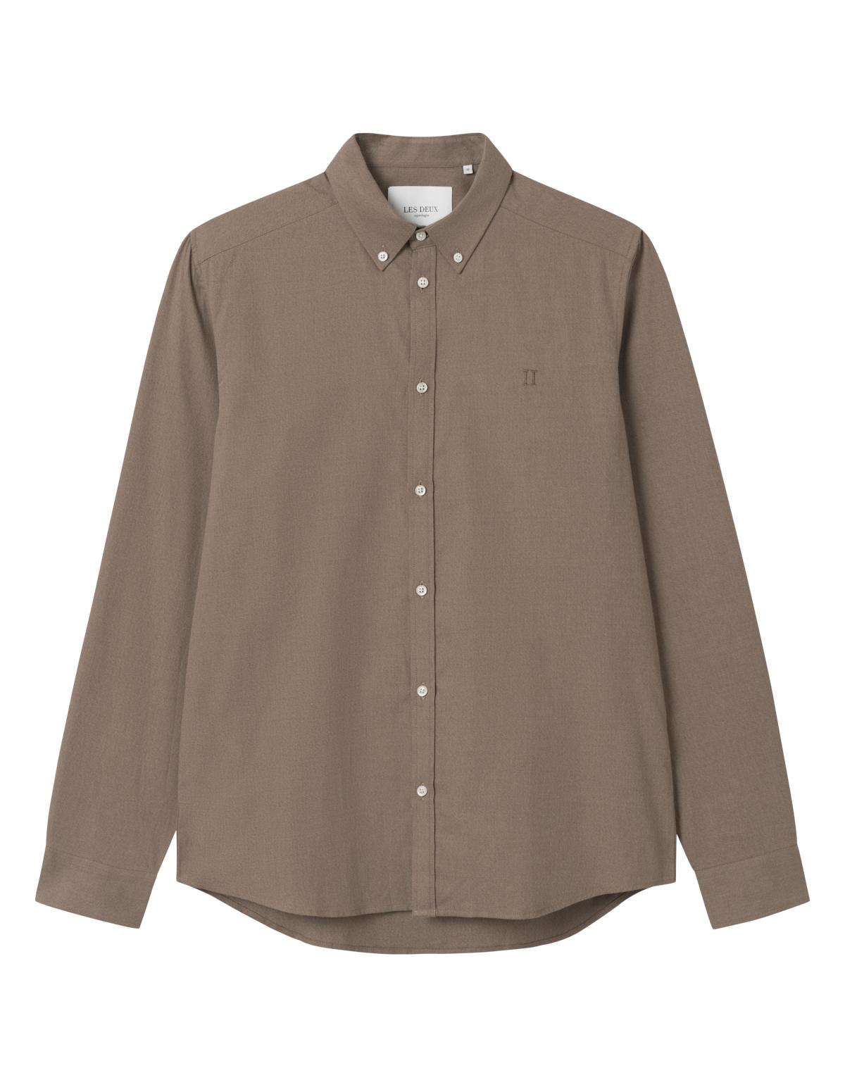 Les Deux Harrison B.D. Brushed skjorte, mountain grey, large