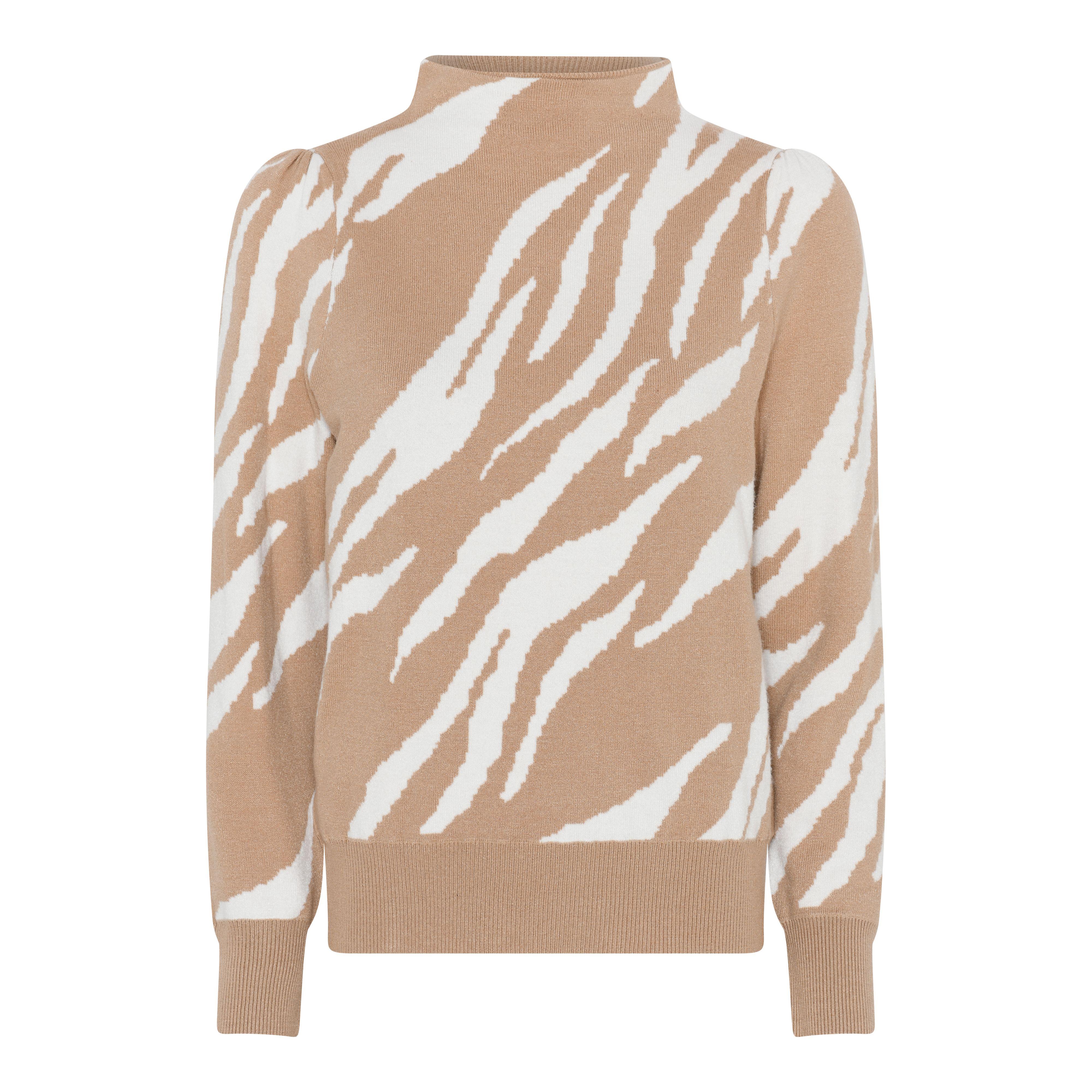 Micha Zebra Effect striktrøje, Camel/Off White, XL