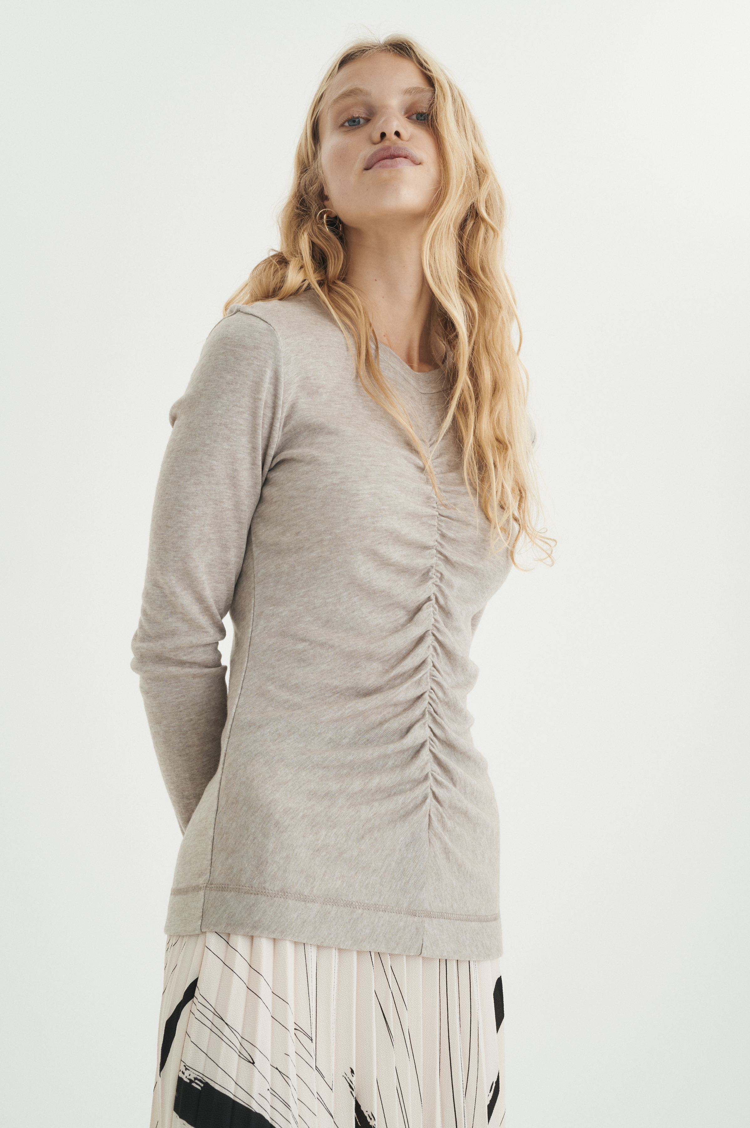 InWear Close to Home O-neck bluse, taupe gray, small
