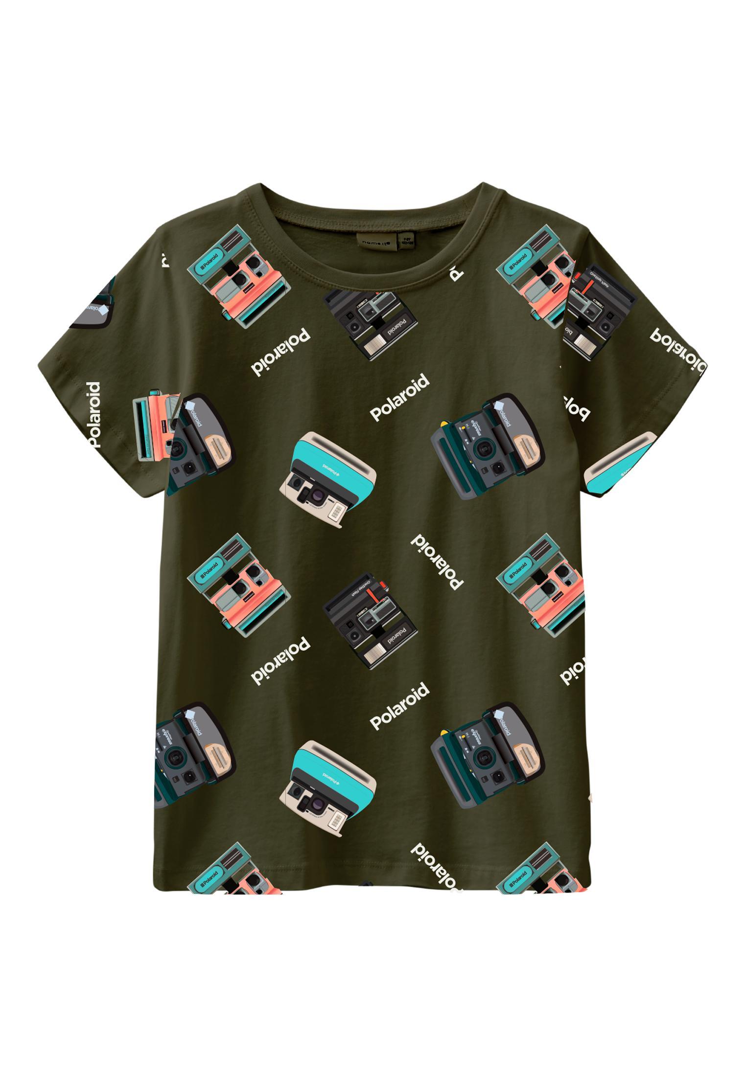 Name It Polaroid SS t-shirt, ivy green, 122-128