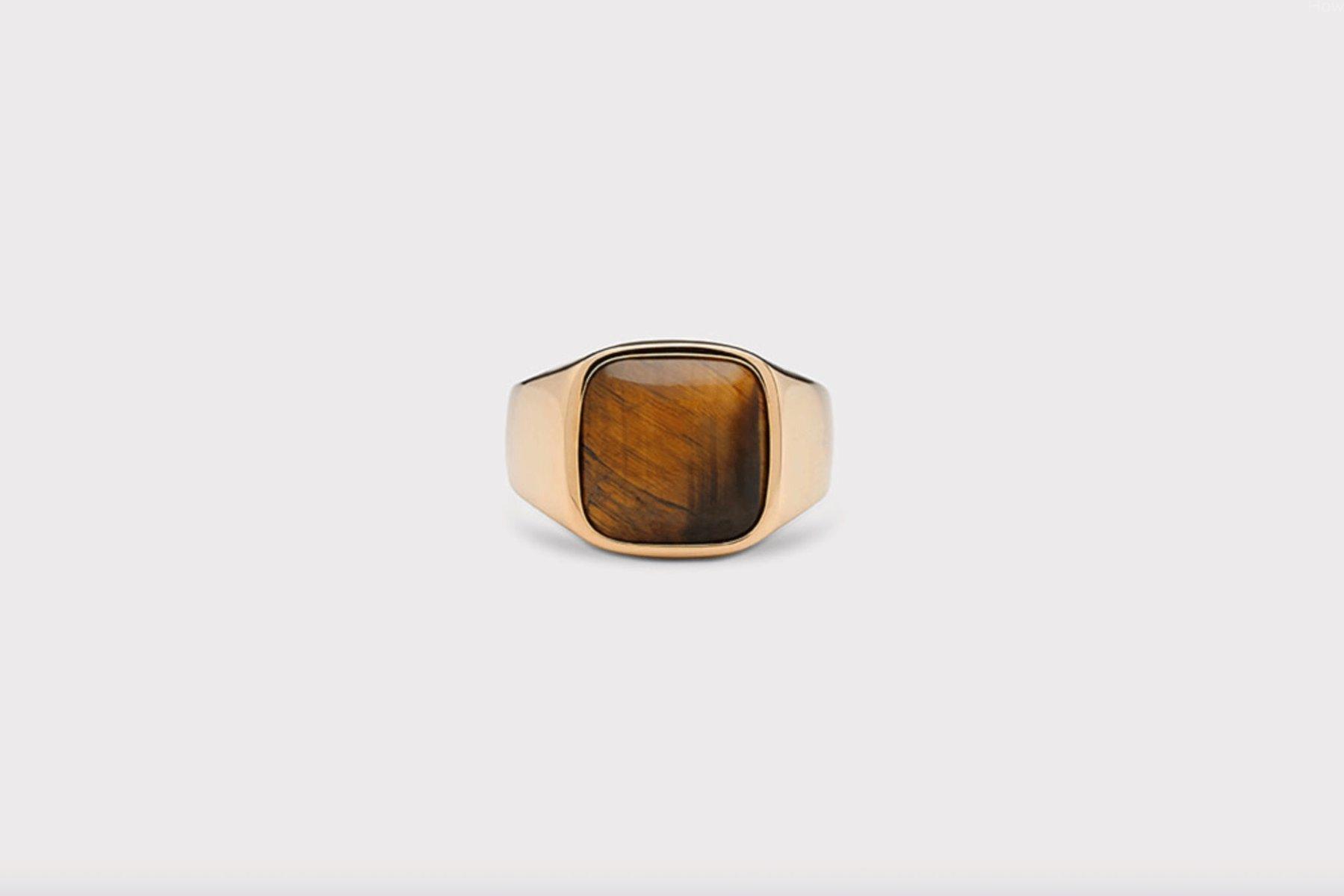 Frederik IX Studios Cushion Signet ring, Gold/Tiger Eye, 58