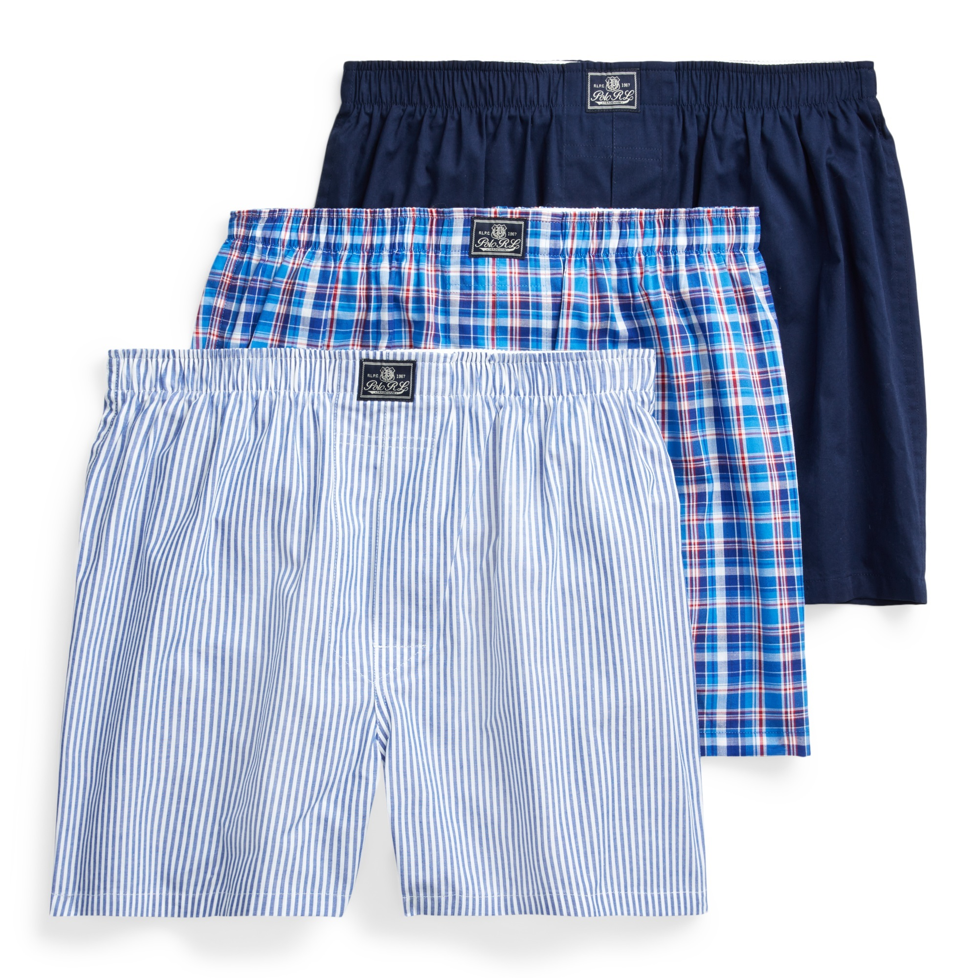Ralph Lauren 3-pak boxershorts, mad strp/ray pld/crs nvy, x-large