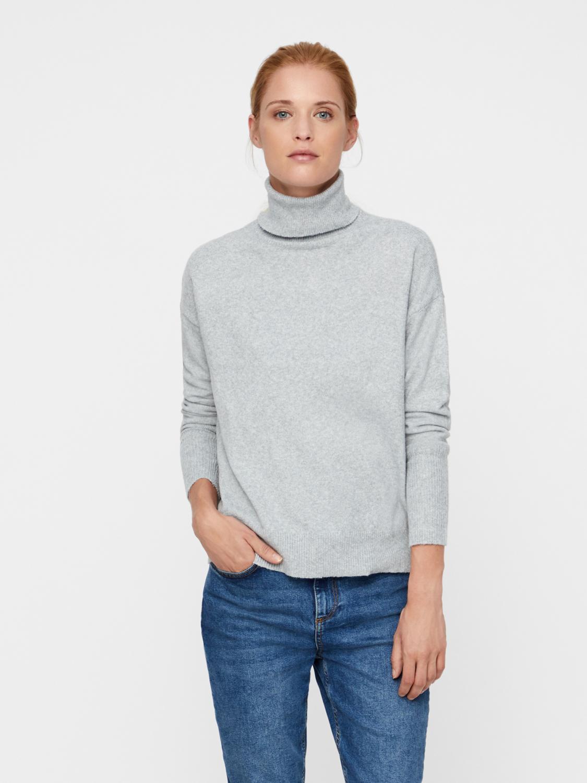 Vero Moda rullekrave striktrøje, light grey, x-large