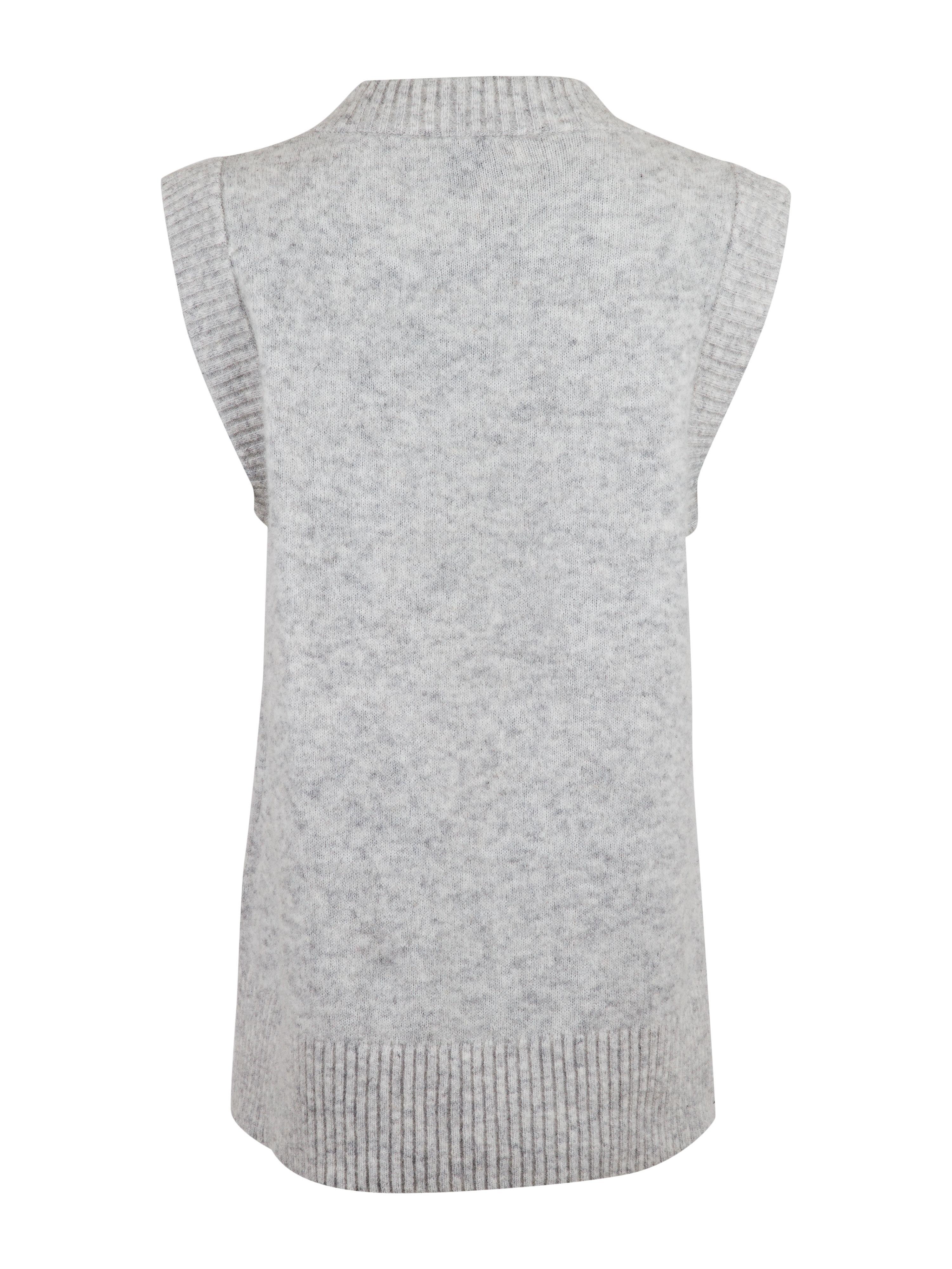 Neo Noir Trevi strik vest, light grey melange, large