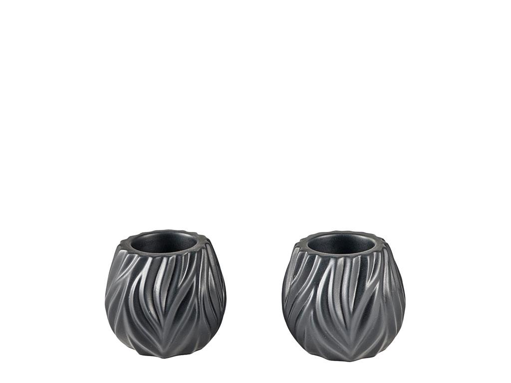 Morsø Flame fyrfadsstager, sort, 2 stk