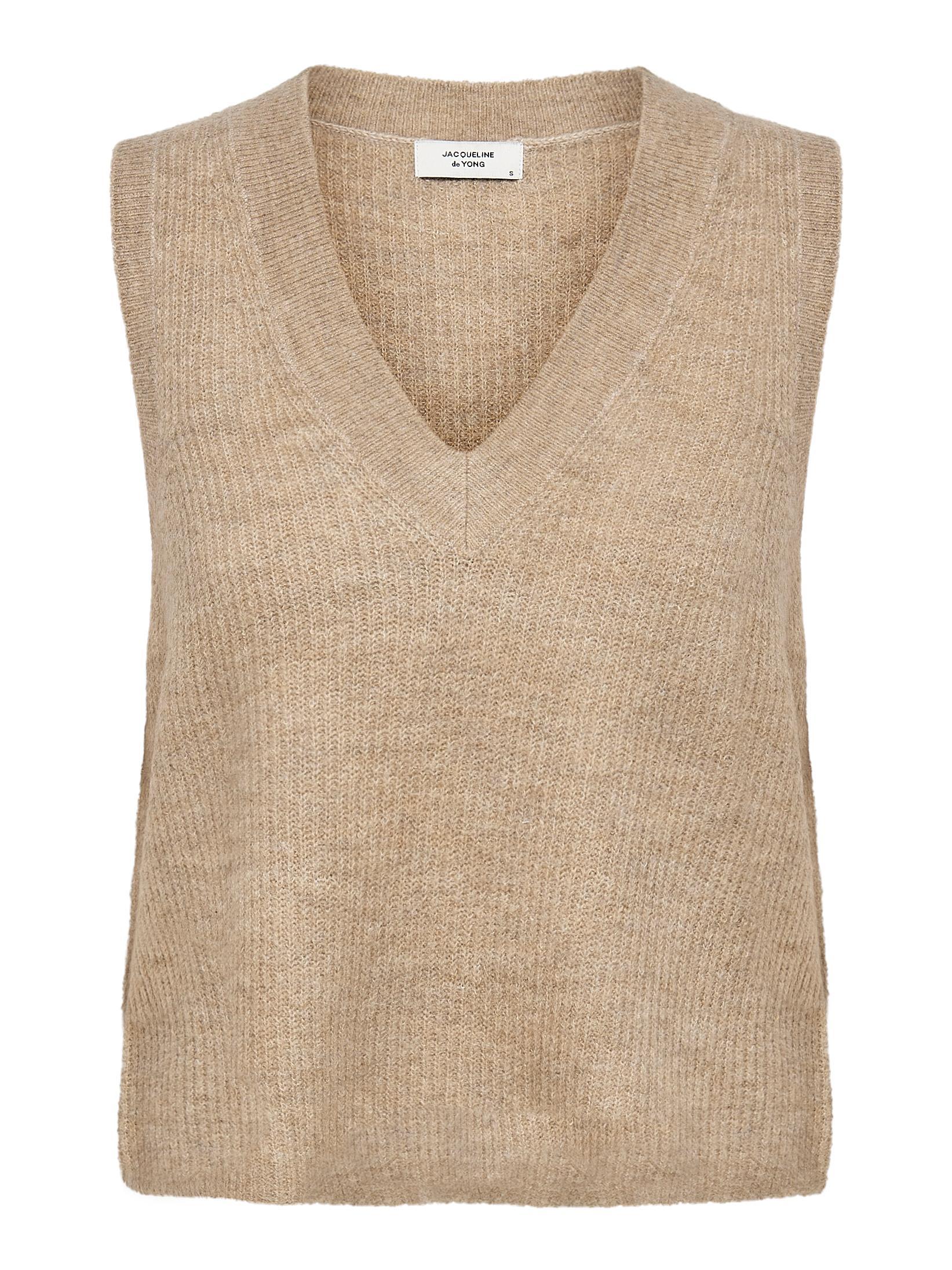 Jacqueline de Yong Elanor V-neck strikvest, oatmeal, large