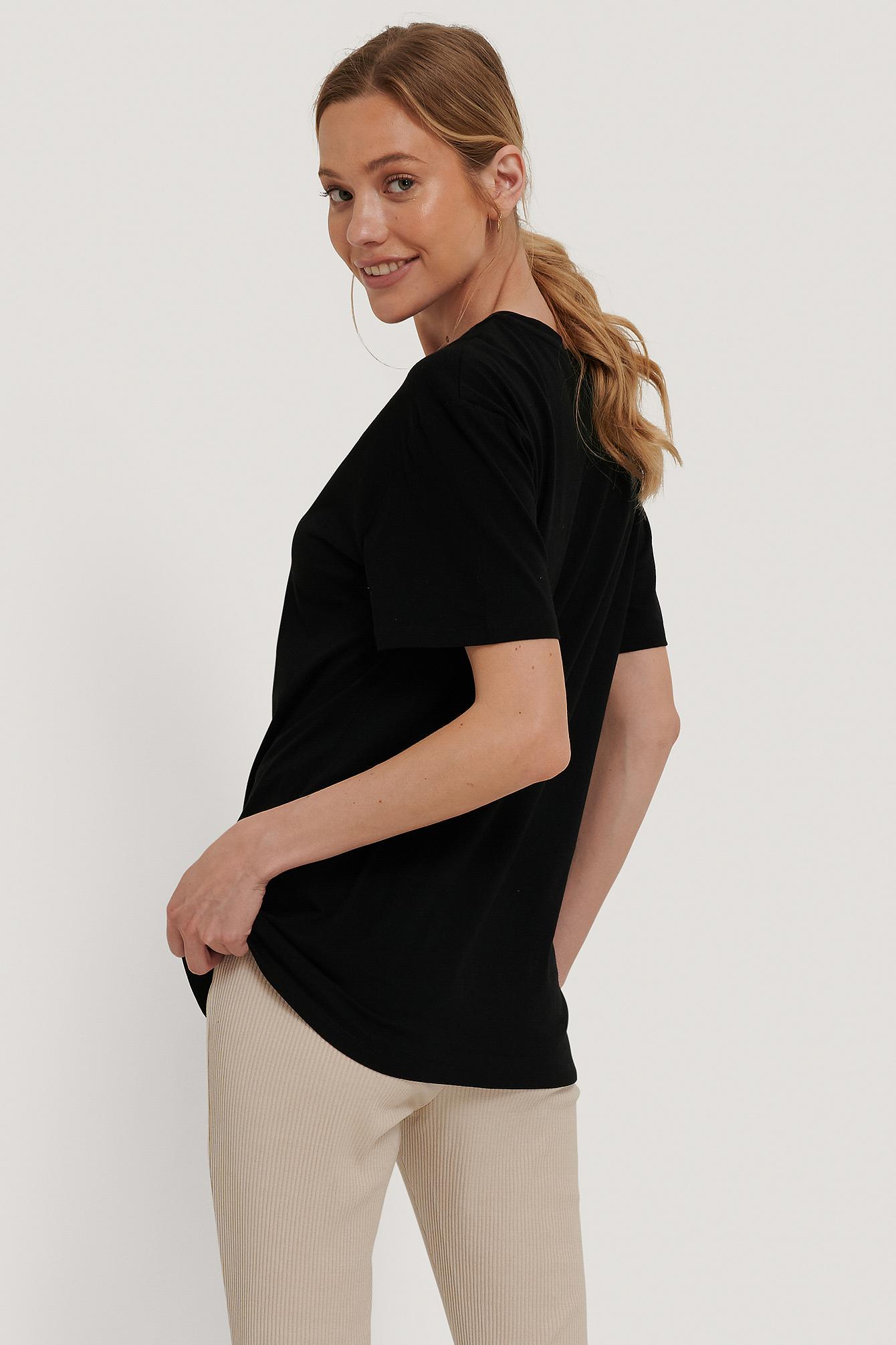 NA-KD Oversize t-shirt m. tryk, black, x-small