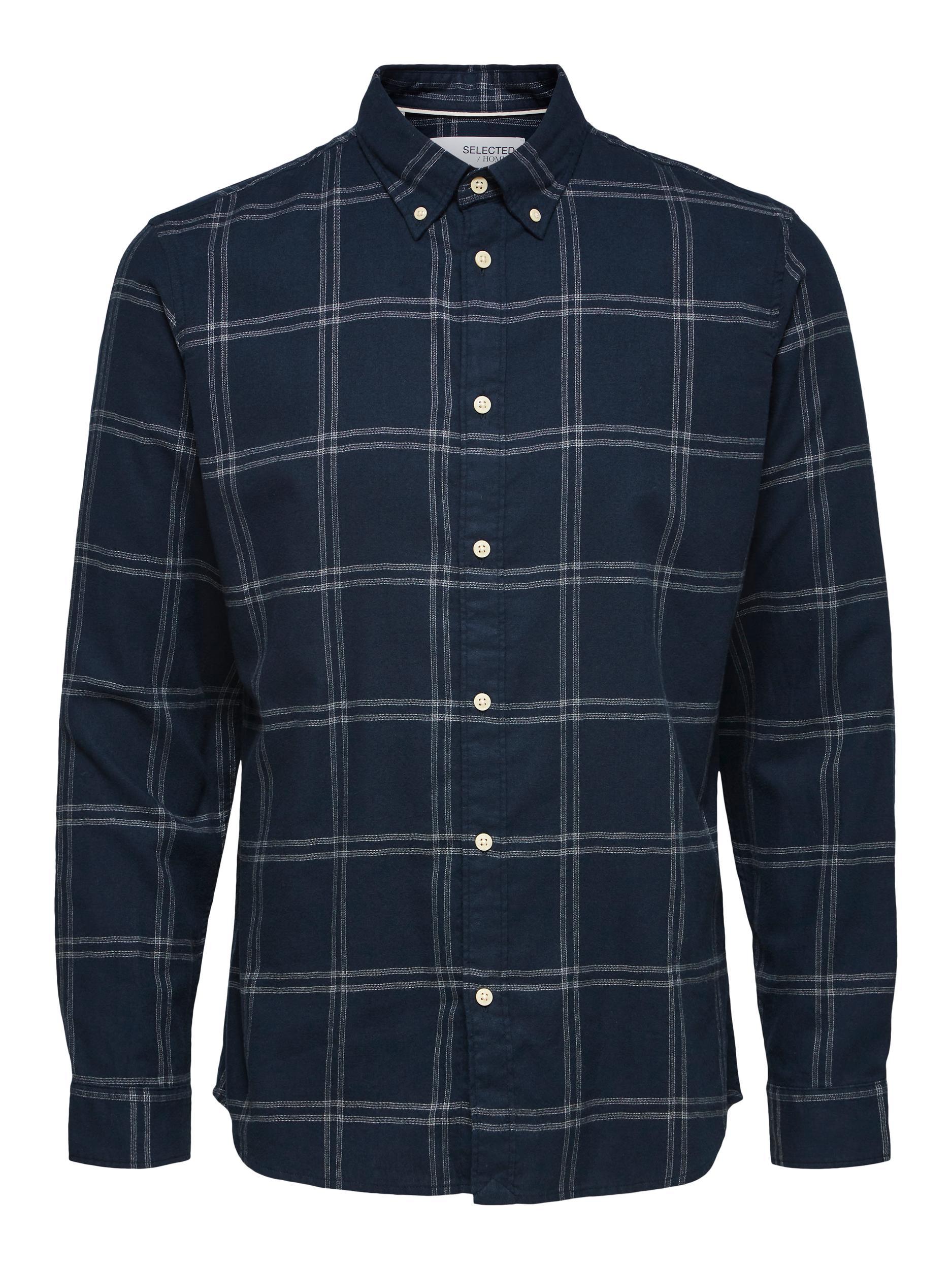 Selected Homme Flannel Slim skjorte, mood indigo, medium