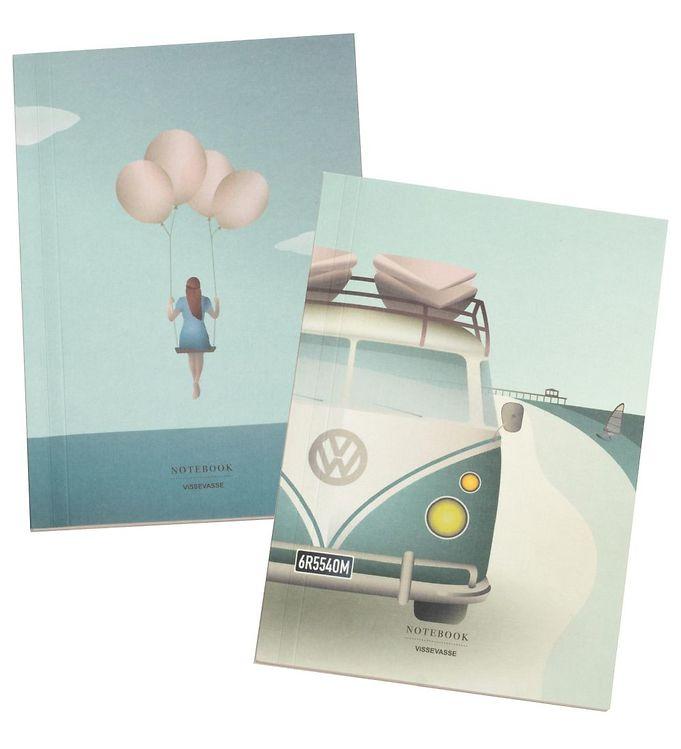 Vissevasse notesbog, camper og balloon, A5