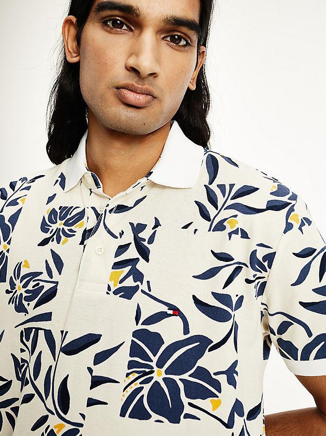 Tommy Hilfiger Floral Print Polo t-shirt, ecru, large