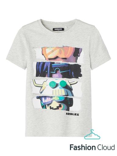 Name It Roblox T-shirt, Light Grey Melange, 116 cm