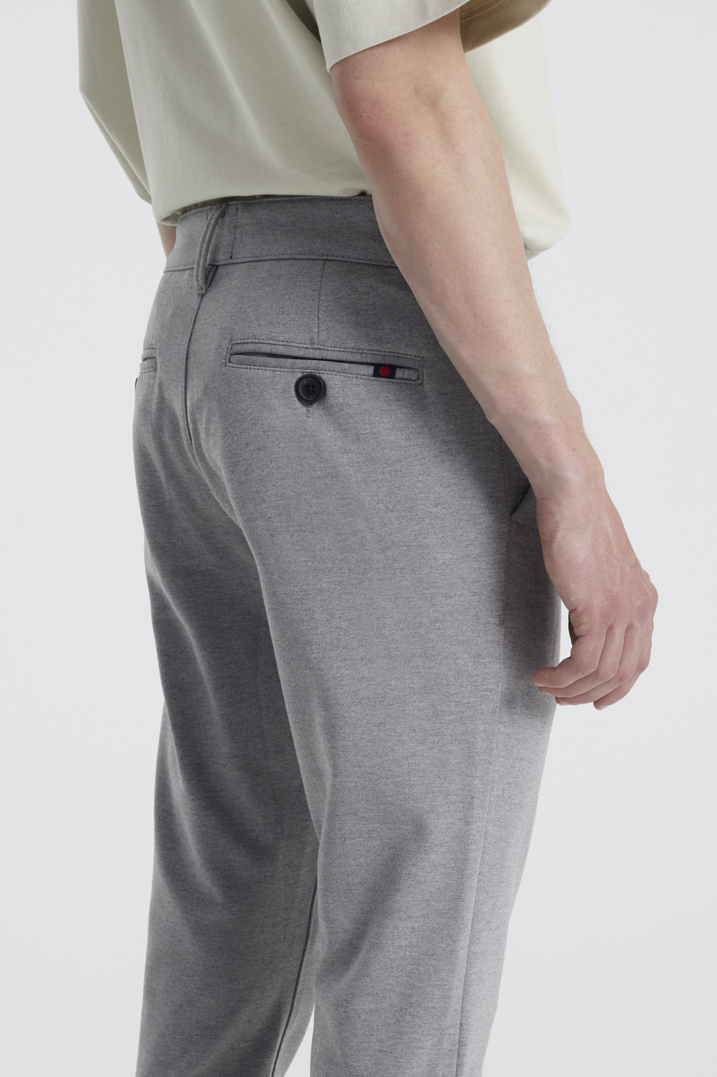 Denim Project Ponte Roma Plain Bukser, Medium Grey Melange, W36/L32