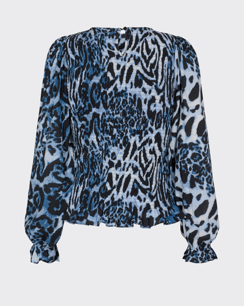 Moves Danima-Is Printed Long Sleeved bluse, azur blue, 42