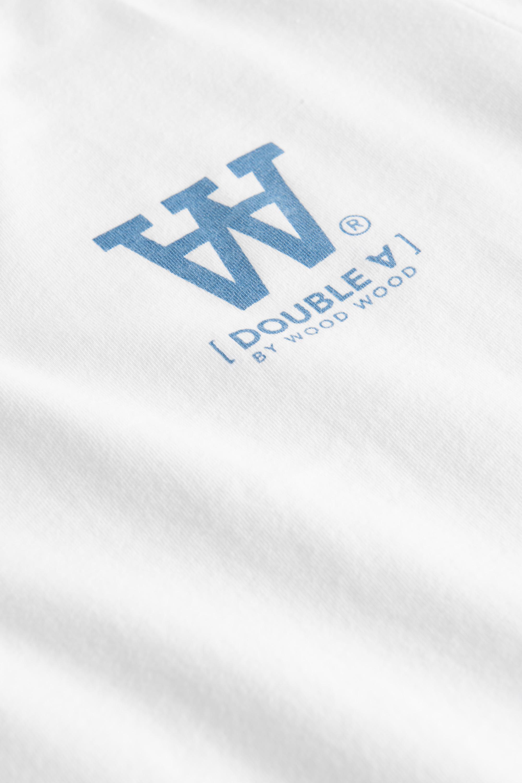 Wood Wood Mia T-shirt, White/Blue Print, XS