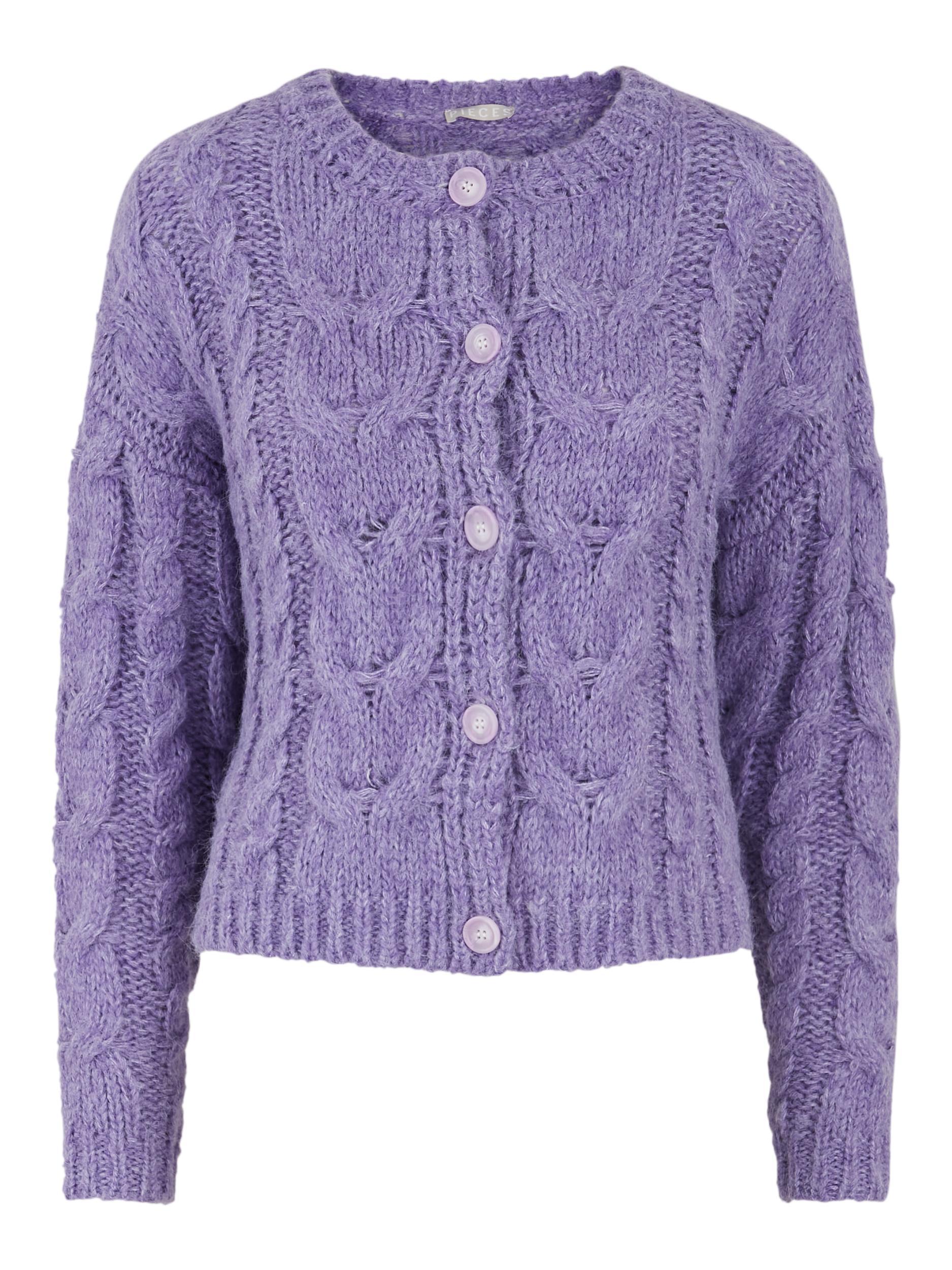 Pieces Fittal LS cardigan, dahlia purple, small