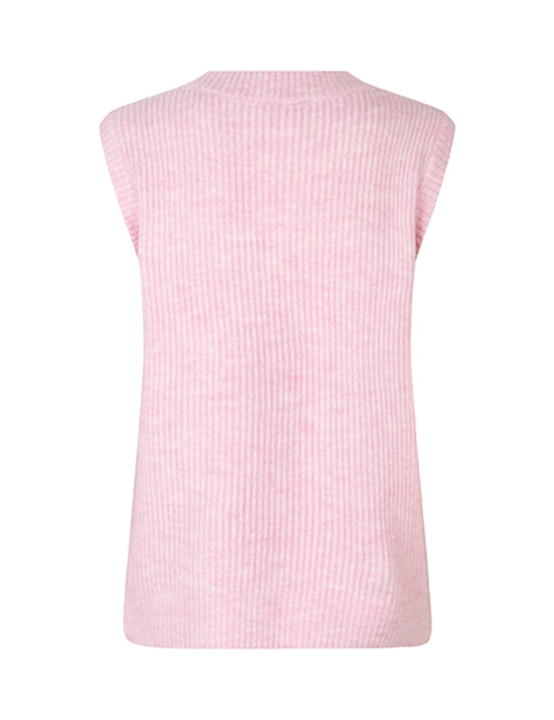 mbyM Harriette strikvest, begonia pink melange, small