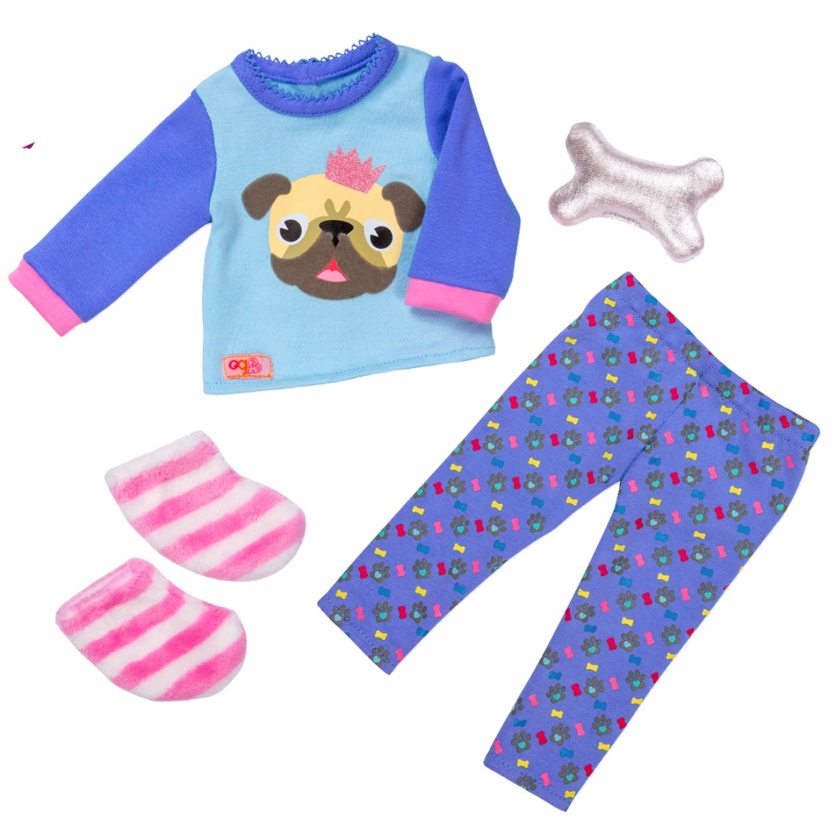 Our Generation dukketøj, pyjamas m. bulldog