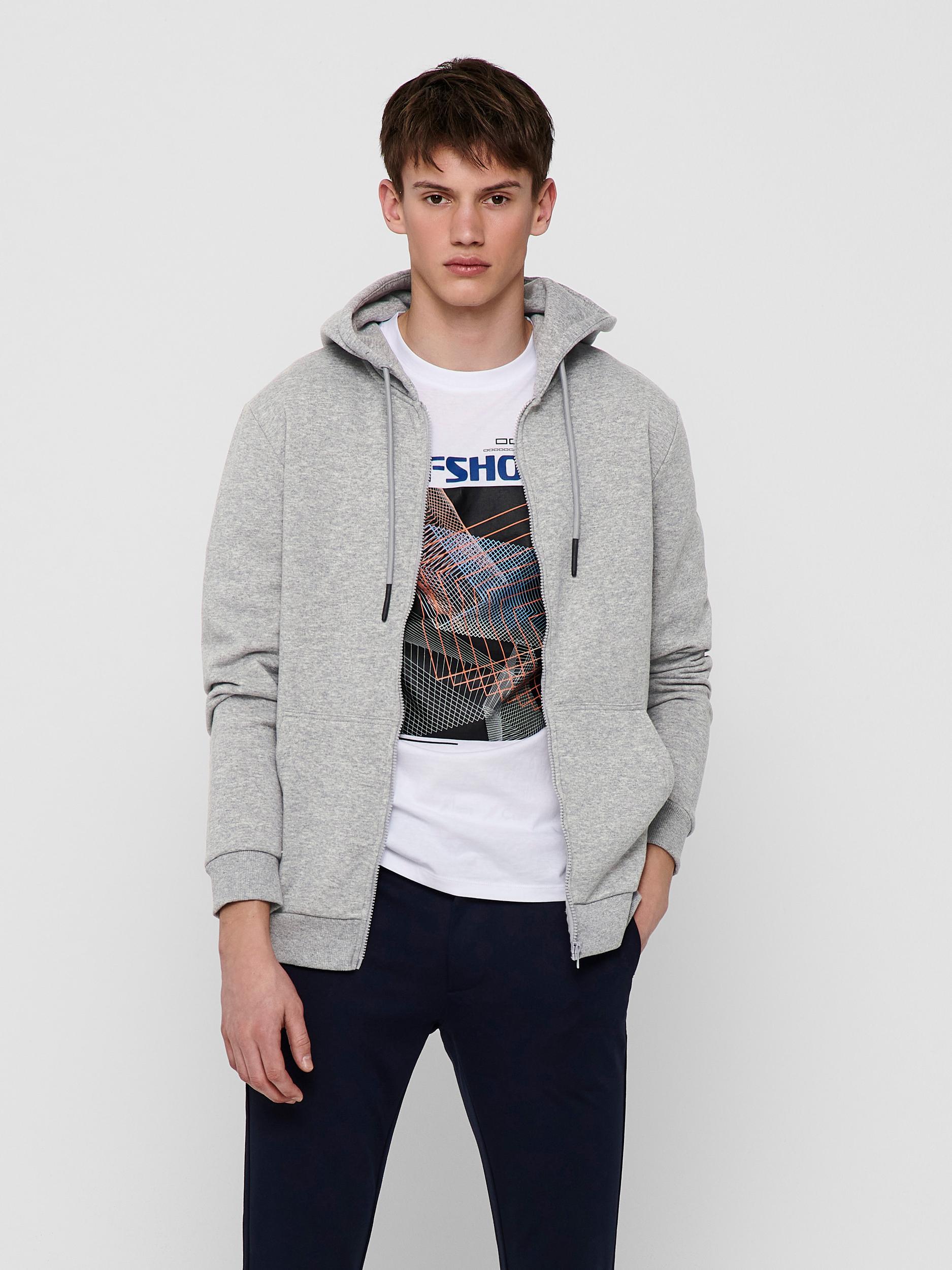 Only & Sons Ceres Life Zip hoodie, light grey melange, large